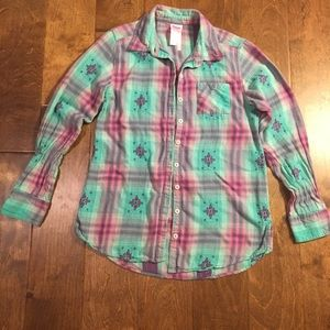 Justice long sleeve button down shirt